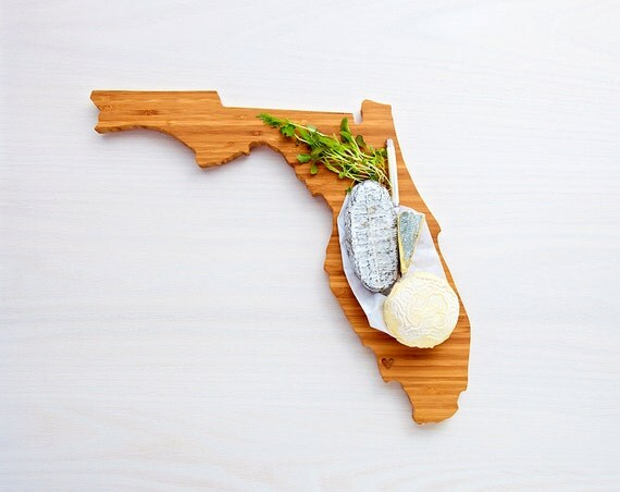 Florida Cutting Board 4th of july Gift Personalized engraved Florida cheese state shaped board
