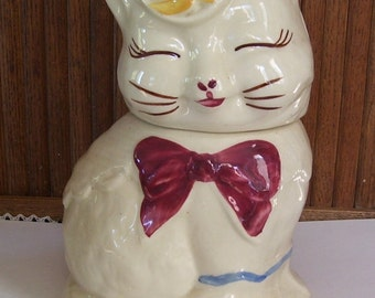 Shawnee Puss N Boots Ceramic Cookie Jar, Maroon Bow, Yellow Bird on Lid Top, Patented,, Home Decor, Housewares, Smiling Cat, Made in U.S.A