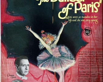1926 Silent Movies The Dancer of Paris with Dorothy Mackaill and Conway  Tearle Movie Poster, Reverse Side  The Viennese Medley, June Mathis