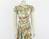 1940s Vintage Dress - Watercolor Garden Novelty Print - Cut on the Bias Dress - 38 / 30 / full