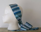 Vintage Blue Striped Silk Scarf or Headband