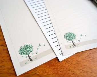 Cream Stationery Set Refills- Green Blossom Tree