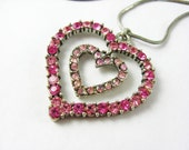 Pink Heart Necklace Silver, Baby Pink Rhinestone Necklace, Heart Shaped Pendant, Rhinestone Necklace Vintage Jewelry, Double Heart Necklace