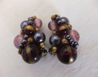 Vintage Earrings Clip On Purple Lavender and Gold Plastic Bead Retro Costume Jewelry Swirl Clips
