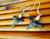 Pearl and Fossilized Lemon Shark Tooth Earrings Beach Candies by jessentials