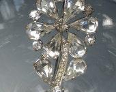 Czech Foiled Rhinestone Flower Brooch Pin 1930s