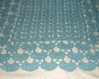 New(Ready to Ship) Crocheted Baby Afghan  - Blanket - Coverlet - Throw   ''SHELLS GALORE''  in Soft Aqua