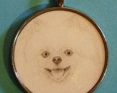 Pomeranian Original Pencil Drawing Pendant with Organza Pouch -Choice of Necklaces -Free Shipping- Desert Impressions