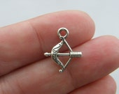12 Bow and arrow charms antique silver tone G46