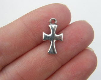 14 Cross charms 17 x 10mm antique silver tone C20