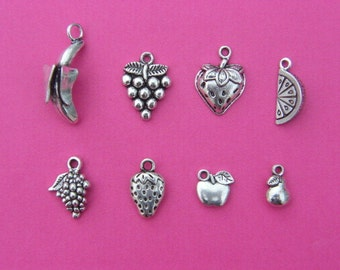 The Fruit Collection - 8 different antique silver tone charms