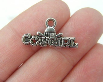 10 Cowgirl charms antique silver tone M444