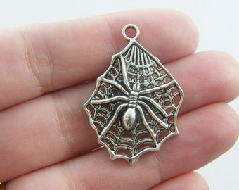 4 Spider in a spiderweb charms antique silver tone HC129