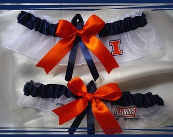 White Organza Ribbon Wedding Garter Set Made w University of Illinois Illini Fabric