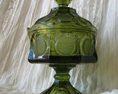 Vintage Fostoria Coin Green Glass Candy Dish