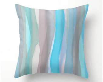 SUMMERTIME BLUES decorative pillow, watercolor stripes, blue taupe gray grey home decor, dorm decor, scatter cushion, pillow cover