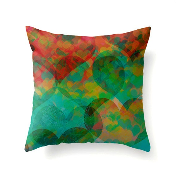 Hearts United decorative throw pillow teal turquoise red gold