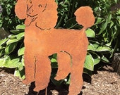 Poodle Garden Stake or Wall Hanging / Garden Decor / Pet Memorial / Lawn Ornament / Silhouette / Rusty / Dog / Shadow / Shadow / Metal