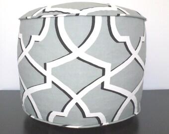 Grey pouf ottoman, geometric ottoman, black and grey pouf, foot rest, grey floor cushion