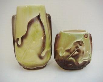 Royal Copley Leaf Vase Set - Green and Brown Fall Decor