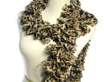 Leopard Scarf, Tan Scarf, Ruffle Scarf, Knit Scarf, Gift For Her, Hand Knit Scarf, Fashion Scarf, Women, Brown Black Scarf, Spring Scarf