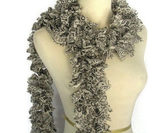 Newspaper Print Scarf, Ruffle Scarf, Knit Scarf, Fashion Scarf, Hand Knit Scarf, Black And Ecru Scarf, Gift Idea For Her, Mother's Day