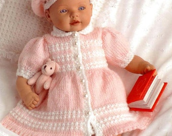 Doll or Prem Baby KNITTING PATTERN - Beret, Dress, Coat, Bootees, Camisole, Bloomers and Cushion 8/10/12 in doll