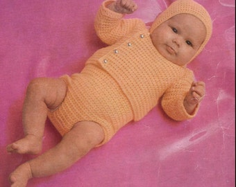 Baby Crochet Pattern - Sweater/Jacket, Romper, Cap/Hat - 18 and 20 inches
