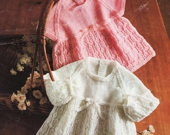 baby Knitting Pattern - Two knit Dresses 36 to 46 cm chest sizes