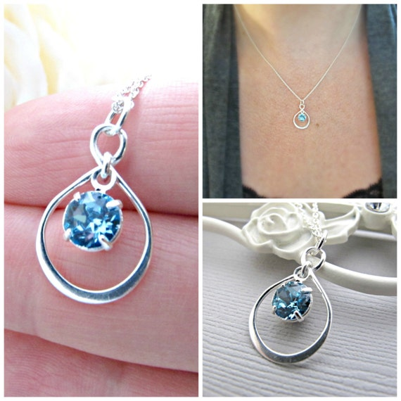 Aquamarine Necklace, Infinity Necklace, Light Blue Birthstone Necklace, March Birthday, March Birthstone, Sterling Silver, Gift for Moms