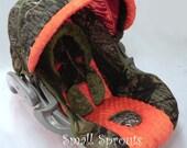 Britax Chaperone Mossy Oak Breakup/Orange and hunter Green Minky Dot Infant Car Seat Cover-Ready To Ship
