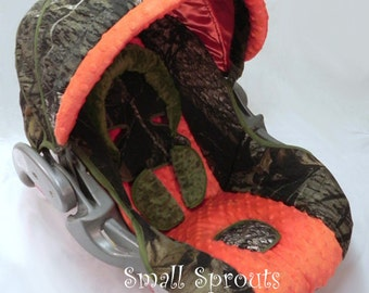 Floor Model Sale~Graco Snugride 30/35 click connect Mossy Oak Breakup/Orange and hunter Green Minky Dot Infant Car Seat Cover-Ready To Ship