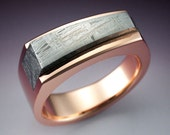 14k Rose gold ring with Gibeon Meteorite