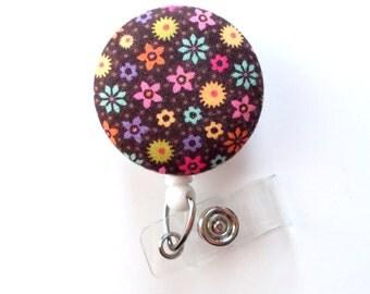 Brown Multi-Colored Floral - Cute ID Badge Reel - Nurse Badge Holder - Nursing Badge Reel - RN Badge Clip - Teacher Badge - Nurse