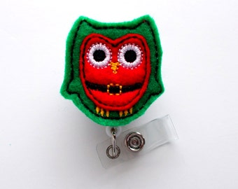 Santa Claus Owl - Retractable ID - Name Badge Holder - Felt Badge Holder - ID Badge Holder - Cute Badge Reel - Nursing Badge