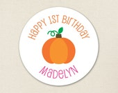 Pink Pumpkin Party - Custom stickers - Sheet of 12 or 24