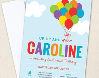 Balloon Party Invitations - Professionally printed *or* DIY printable