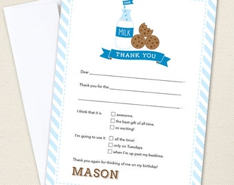 Milk and Cookies Party Thank You Cards - Professionally printed *or* DIY printable