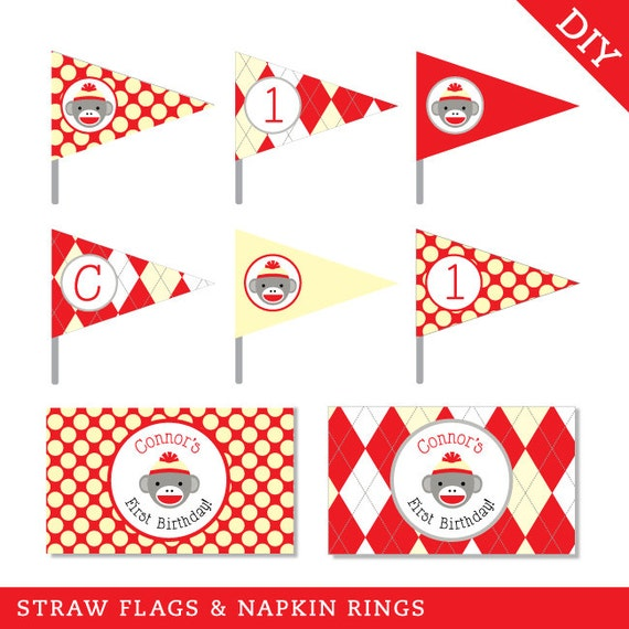 Sock Monkey Party - Personalized DIY printable straw flags and napkin rings
