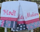 Personalized monogram girl burp cloth set/baby shower gift
