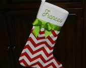 Christmas stocking//Personalized Christmas stocking//red chevron Christmas stocking//Handmade Christmas stocking