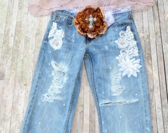 30  8 Boho ripped jeans, Bohemian destroyed jeans, gypsy soul jeans, Daisy hippie chic patchwork jeans, womens jeans, True rebel clothing