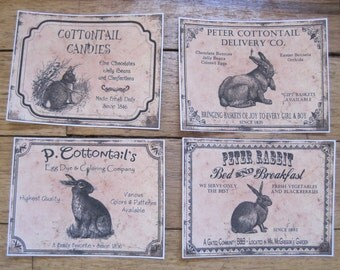 assorted vintage-inspired easter bunny stickers set of 4