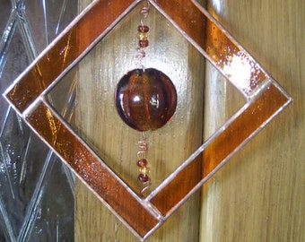Amber Cat's Eye Stained Glass Frame Beads