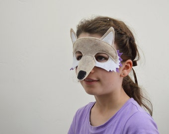 Kids Fox Mask--tan and purple