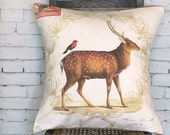 Pillow Cover Woodland Deer with Red Bird