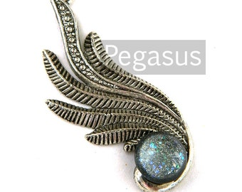 Art Deco Silver Seraph wing Pendant with Silver Storm glass opal cabochon (1 Piece) vintage fashion jewelry finding for earring,necklace