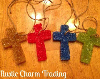 Car Scent Aroma Bead Air Freshener Leather Scented Cross Shape