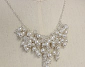 Swarovski Pearl & Crystal Cluster Necklace Sterling Silver Chain Locking Clasp Wedding or Special Occasion