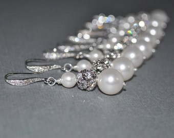Wedding Bride Bridal Bridesmaid White Swarovski Pearl and Rhinestone Earrings - Customizable in a Variety of Pearl Colors